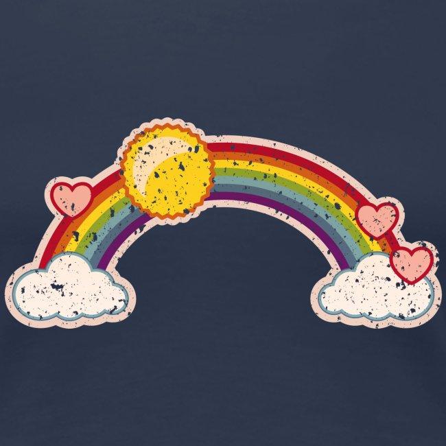 Regenbogen rainbow Wolke 7 Retro Grunge Vintage