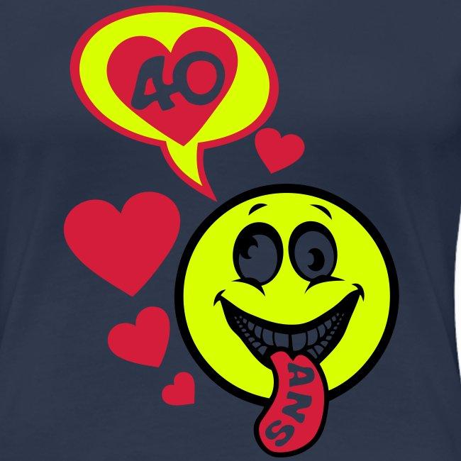 40 Ans Smiley Anniversaire Bulle Langue T Shirt Premium Femme Tee Shirt Anniversaire Humour Alcool De 18 20 25 30 35 40 Jusqu A 100 Ans