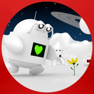 Cute robot finder blomster - Dame premium T-shirt