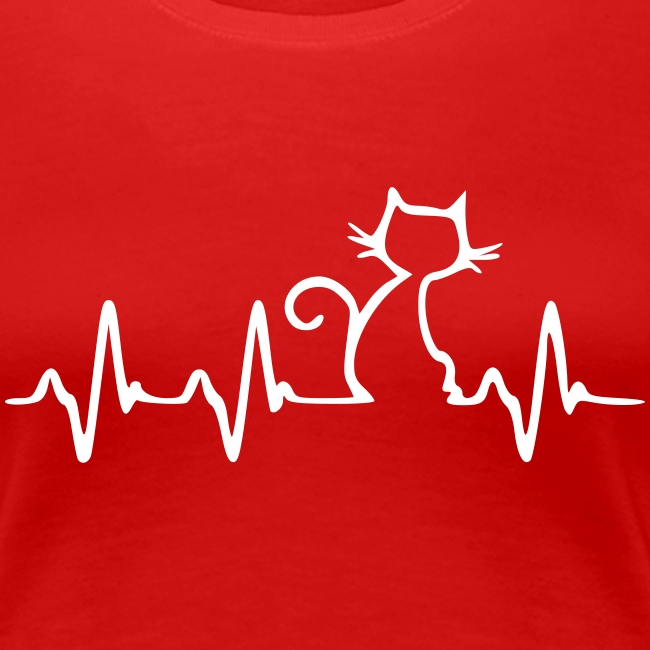 Cat Heartbeat - Frauen Premium T-Shirt