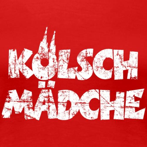 Kölsch Mädche mit Kölner Dom Köln (Vintage Weiß) - Frauen Premium T-Shirt