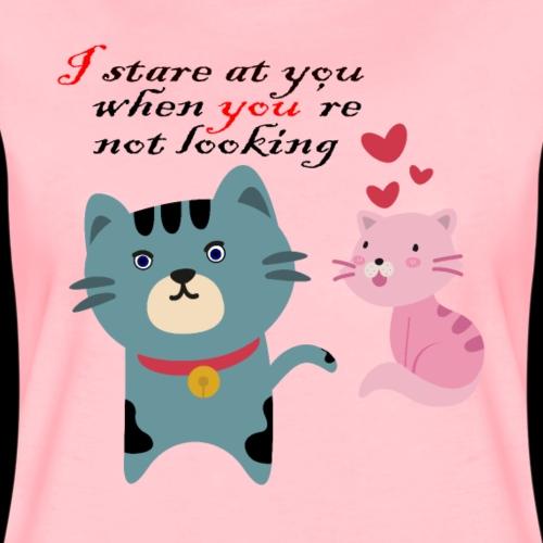 Katzen Stalker Beobachten Geschenk Valentinstag - Frauen Premium T-Shirt