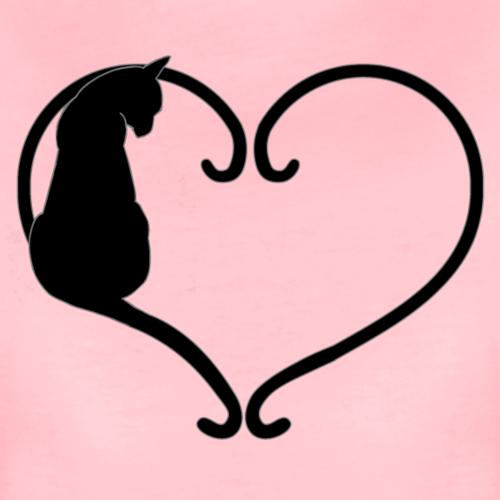 Chat coeur noir - T-shirt Premium Femme