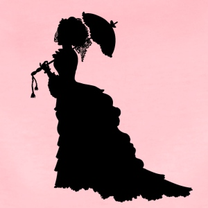 Black Baroque Lady silhouette with umbrella - Women's Premium T-Shirt