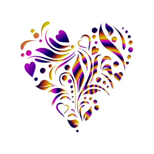 motif coeur multicolor