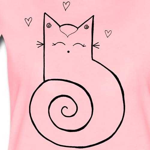 Katze Strichfigur schwarz - Frauen Premium T-Shirt