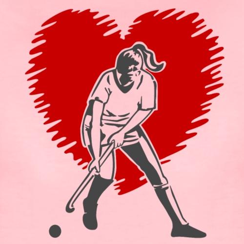 Hockeyspielerin vor Herz - Vrouwen Premium T-shirt