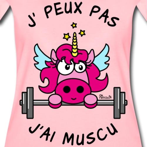 Licorne Rose, Je peux pas, J'ai Muscu - T-shirt Premium Femme