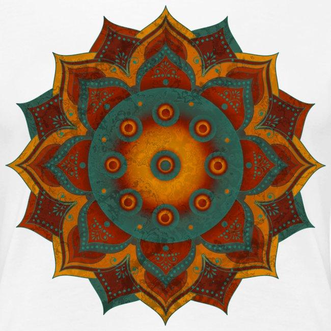 HANDPAN hang drum MANDALA teal red brown