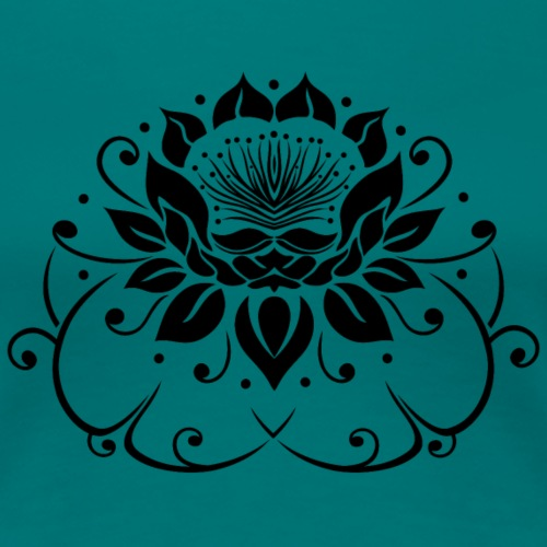 Seerose, Lotus Blume mit Blättern. Yoga. - Frauen Premium T-Shirt