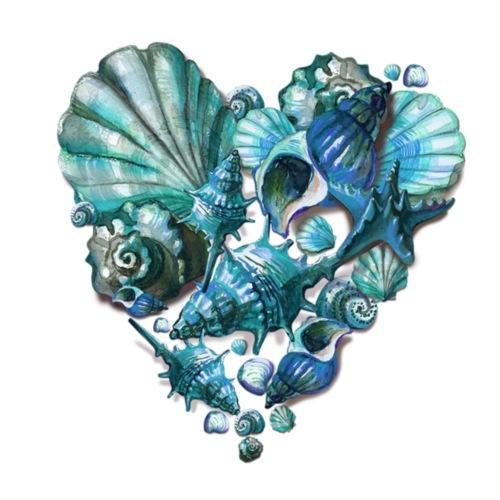 Muschelherz blau
