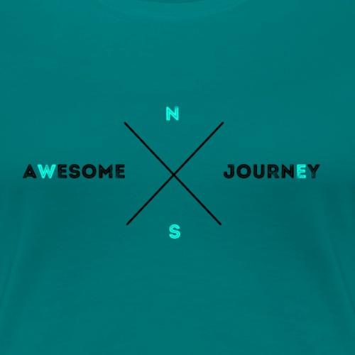 Awesome Journey T-shirt (BLACK / LIGHT BLUE) - Vrouwen Premium T-shirt