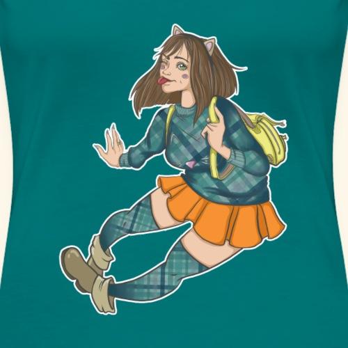 Katzendame Comicgirl - Frauen Premium T-Shirt
