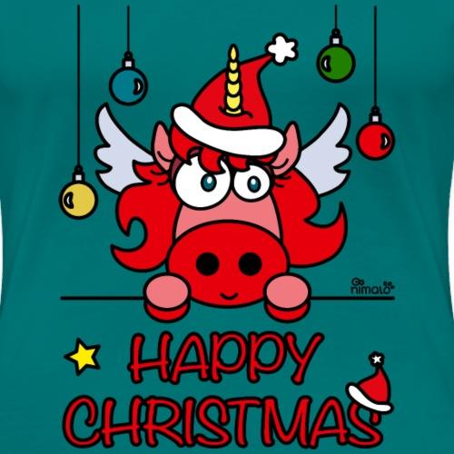 Unicorn Happy Christmas, Licorne Noël - T-shirt Premium Femme
