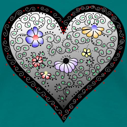 Herz mit Blumen und Ornamenten - Frauen Premium T-Shirt