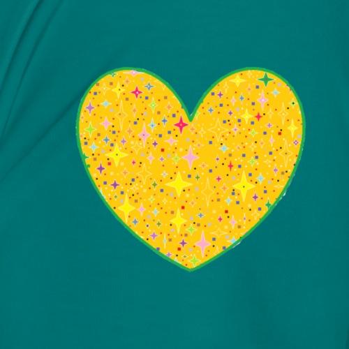 CORAZON CON ESTRELLAS VERDE - Camiseta premium mujer