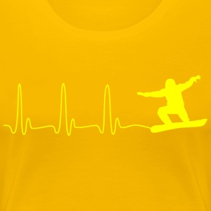 ECG HEART LINE SNOWBOARD yellow - Women's Premium T-Shirt