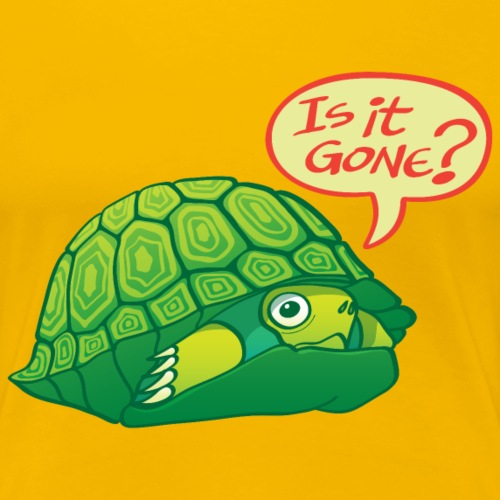 Green turtle asks if can come out of shell - Women's Premium T-Shirt
