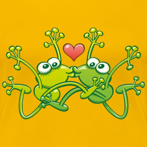 Amorous frogs jump and kiss - Women's Premium T-Shirt