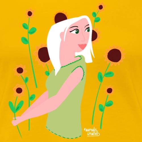 tournesols avec fille - T-shirt Premium Femme
