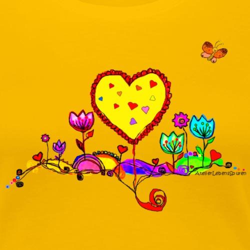Blumengruß mit Herz - Frauen Premium T-Shirt