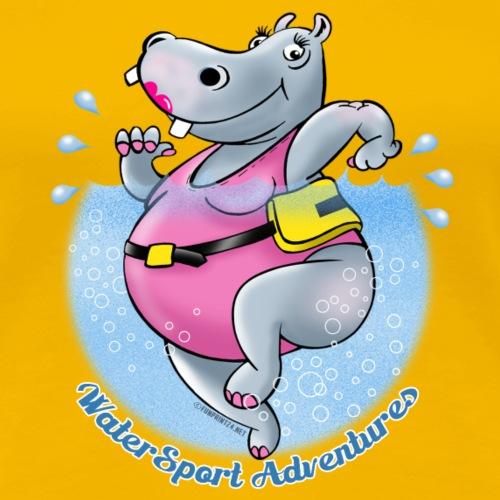 22-06 WATER RUNNING HIPPO - VESIJUOKSU Textiles - Naisten premium t-paita
