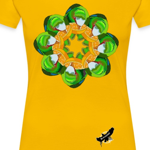 Parrot Pattern by BlackenedMoonArts, w. logo - Dame premium T-shirt
