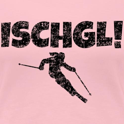 Ischgl Skifahrerin (Schwarz) Schnee Apres-Ski - Frauen Premium T-Shirt