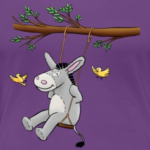 Esel - Kuschelesel auf Schaukel - Frauen Premium T-Shirt