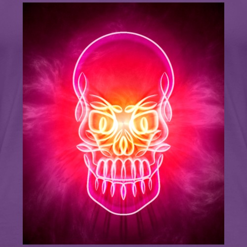 Neon Glowing Skull - Women's Premium T-Shirt
