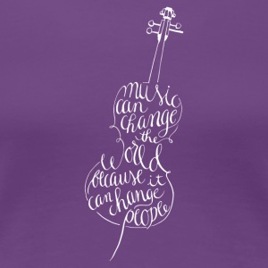 Calligraphy cello in white - Women's Premium T-Shirt