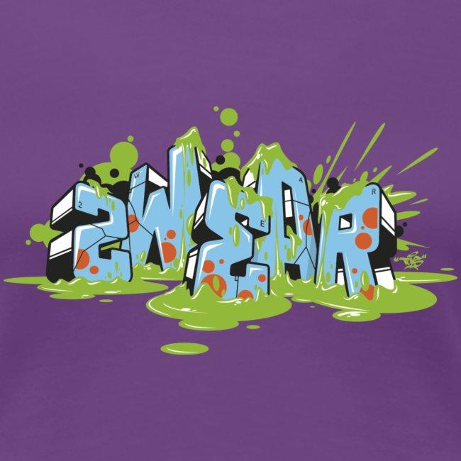 2wear blue graffiti Block Splash - Wh logo
