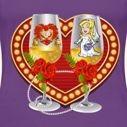 Bride Heart with Champagne Glasses & Roses - Women's Premium T-Shirt