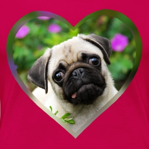 Funny pug puppy dog ​​photo portrait with heart - Women's Premium T-Shirt