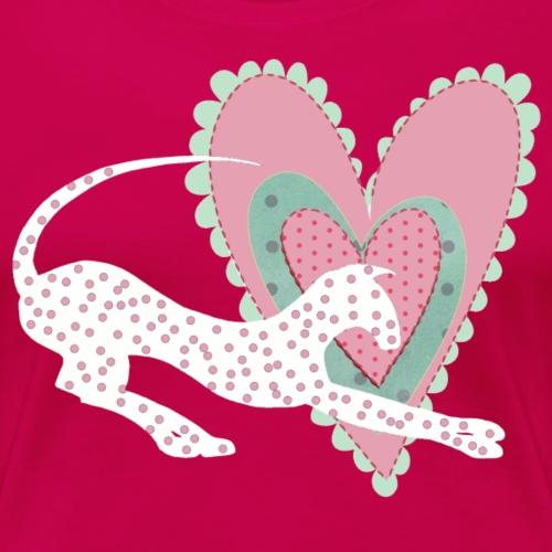 Vit katt rosa hjärta prickar - Premium-T-shirt dam