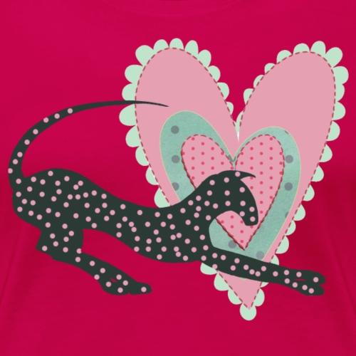 Rosa prickar hjärta - Premium-T-shirt dam