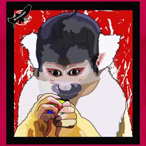 'Clever Monkey 2' by BlackenedMoonArts, w. logo - Dame premium T-shirt