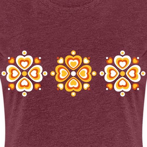 Retro Herzen fröhliche Blumen Vintage Valentinstag - Women's Premium T-Shirt