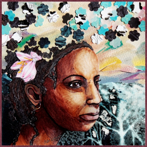 Black princess with flowers - Naisten premium t-paita