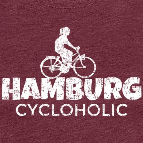 Hamburg Cycloholic (Vintage/Weiß) Fahrradfahrerin - Frauen Premium T-Shirt