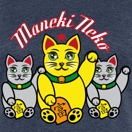 Maneki Neko, Winkekatzen-Gruppe farbig - Frauen Premium T-Shirt
