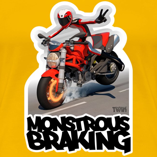 Ducati Monster, a motorcycle stoppie.