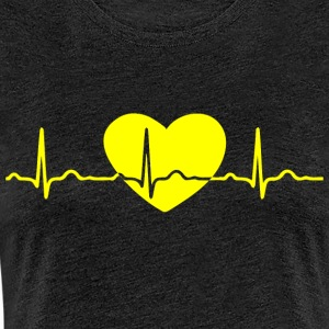 ECG HEART LINE yellow - Women's Premium T-Shirt