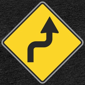 Road Sign right curvy way - Women's Premium T-Shirt