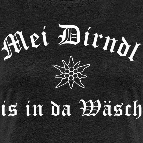 Mei Dirndl is in da Wäsch mit Edelweiß - Frauen Premium T-Shirt
