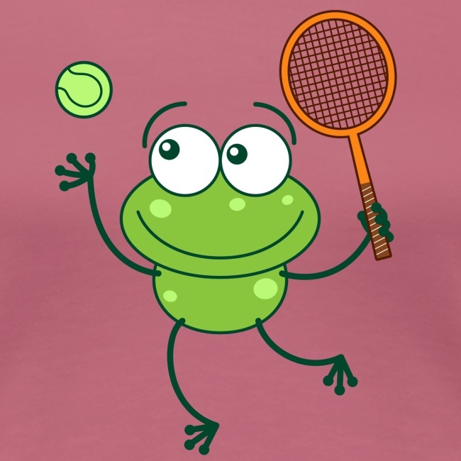 Green frog ready to serve at tennis match