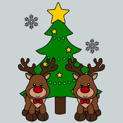 Christmas reindeer with Christmas tree - Kids' Premium T-Shirt
