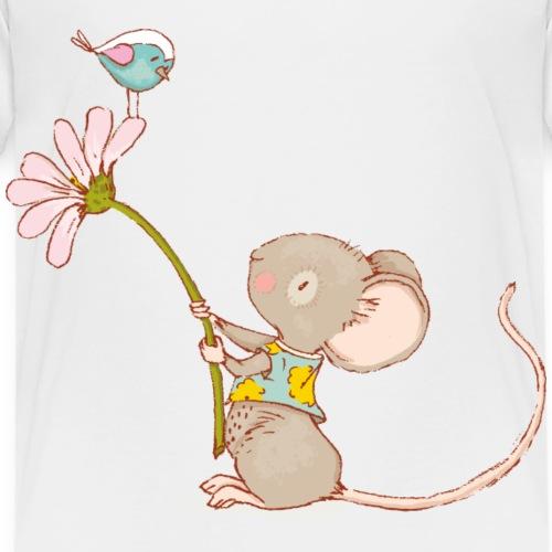 Maus mit Blume und Vogel - Kinder Premium T-Shirt