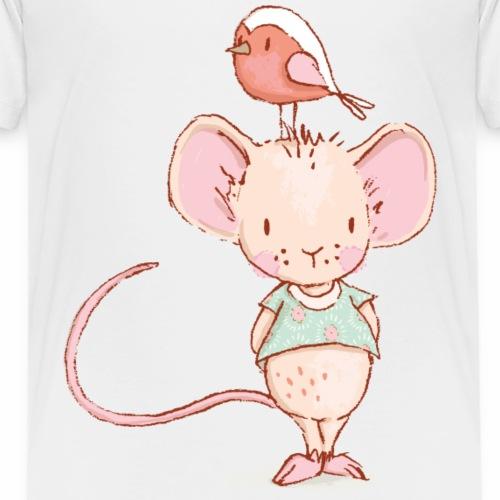 Maus mit Vogel - Kinder Premium T-Shirt