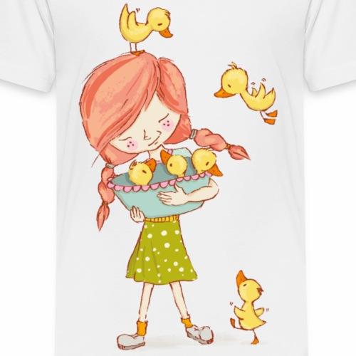 Mädchen mit Enten - Kinder Premium T-Shirt